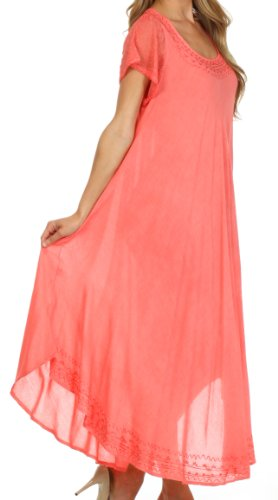 Sakkas Femmes Everyday Essentials Cap manches robe Caftan et Cover Up Corail