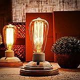 YUENSLIGHTING Vintage White Ceramics Lámparas de mesa de madera con interruptor On / Off E27 Base...