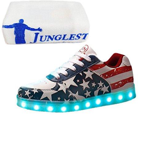 (Présents:petite serviette)JUNGLEST® Chaussures Led 7 Couleurs Étoile MotifS neakers Usb Charge B initial