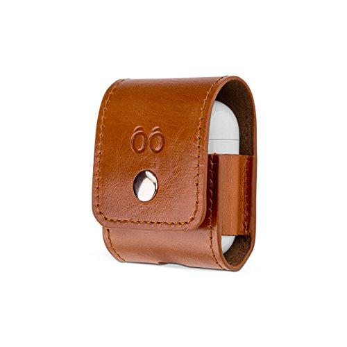 trooble Tasche für Apple AirPod-s wireless aus echtem Leder braun