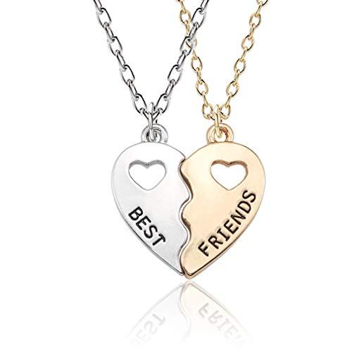 Pinhan 2 Stück Bester Freund Brief Halskette Set gebrochen hohl Herz Liebe Freundschaft Anhänger