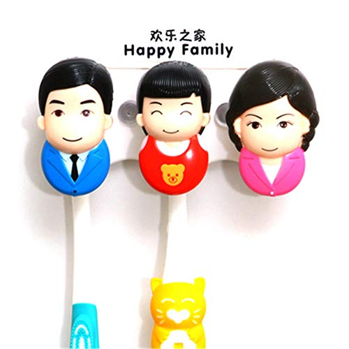 (Ruixinshi Happy Family Cartoon Hourglass Toothbrush Holder with Sucker Classification Portraits Toothbrush Storage Rack for Bathroom Kit,B)