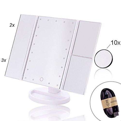 EPHVODI 21 LED Dreifach Gefalteten Kosmetikspiegel/Schminkspiegel/Schminkspiegel Mit 3x/2x/1x Abnehmbare 10x Vergrößerung Spot Spiegel, Touchscreen - Weiß
