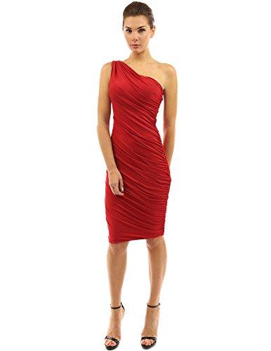 PattyBoutik femmes robe de cocktail une épaule Rouge