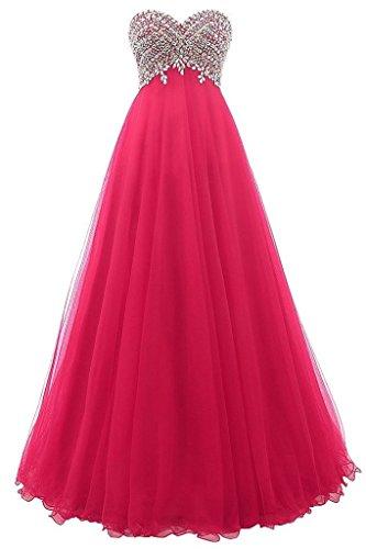 JAEDEN Damen Traegerlose Ballkleider Lang A Linie Tuell Abendkleid Partykleid Festkleid Brautjungfernkleid Fuchsie