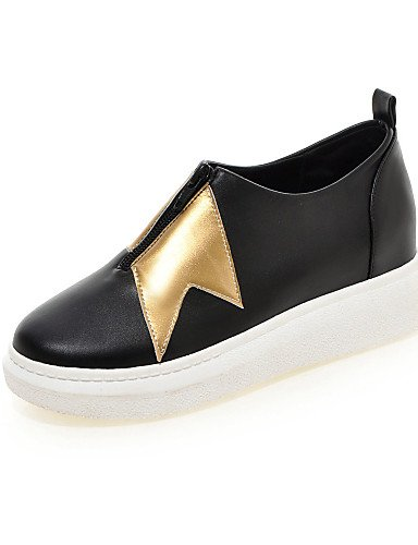 ZQ Scarpe Donna - Mocassini - Formale / Casual - Punta arrotondata - Piatto - Finta pelle - Nero / Bianco , white-us8.5 / eu39 / uk6.5 / cn40 , white-us8.5 / eu39 / uk6.5 / cn40 black-us7.5 / eu38 / uk5.5 / cn38