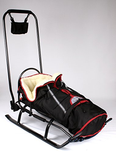 3in1 Kinder Schlitten mit Rückenlehne, Fusssack, Schiebegriff und Gurt aus Aluminium (Black)