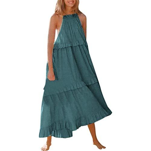 Watopi Frauen langes Kleid Mode einfarbig Strandkleid Sexy lose Kuchen ärmelloses Kleid