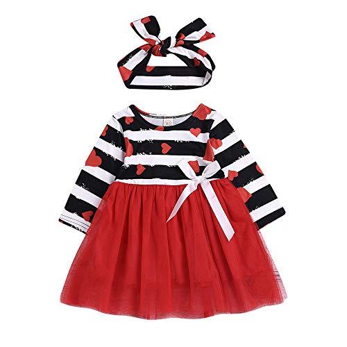 Mädchen Valentinstag Streifen Herz Liebe Print Tutu Tüll Mesh Prinzessin Kleid Stirnband Set (3M-24M) Ostern (Rot,80) ()