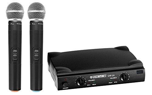 McGrey UHF-2V Dual Funk Mikrofon Set mit 50m Reichweite (Wireless Komplettset mit 2 x Handmikrofon, Betriebsdauer ca. 8 Stunden, 6,3mm Klinke Ausgang) schwarz