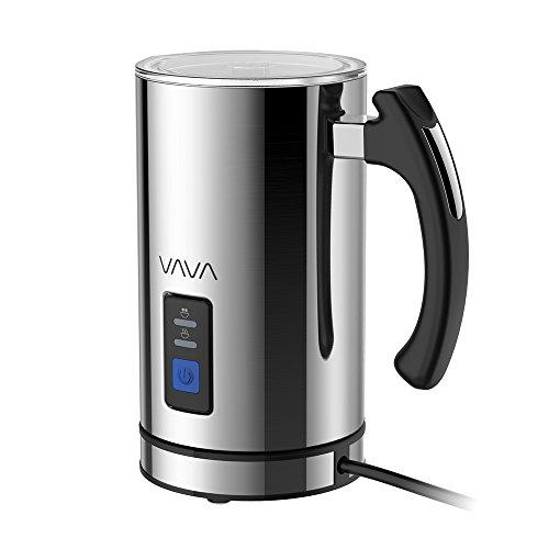 Milchaufschäumer Edelstahl VAVA Automatisch Milk Frother Milch Erwärmen Aufschäumen, für Kaltes und Warmes Milch, Abnehmbarer Milchbehälter und Spülmaschinenfester, 550W Max. 300ml, Schwarz