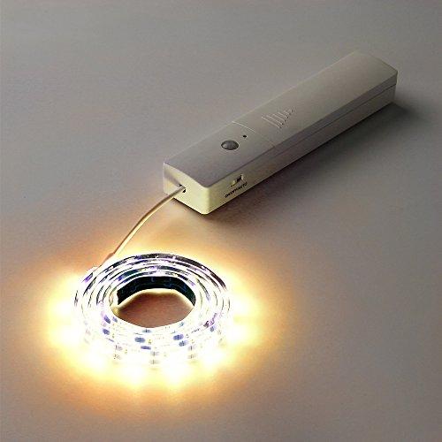 Bettrahmen Schritt (LED Bewegungsmelder Licht, Kabinett Licht, Nachtlicht, Nachttischlampe, DIY Aufklebbarer überall Tragbare 60-LED Kleiderschrank/Treppe/Schritt Licht Bar, LED-Nachtlicht, Safe mit Magnetstreifen Warmweiß)