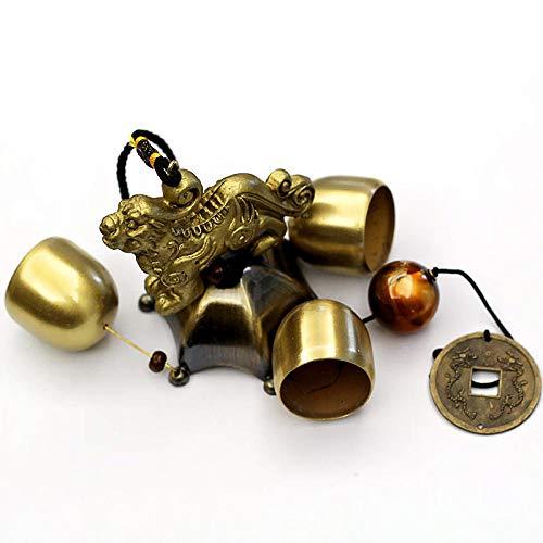 Esquisite Life Windspiele,Windstärke Eine Fugui Glocke 1 Schicht 3 Glocke Messing Windspiel Kreative Dekoration Hängenden Schmuck Geschenk, M