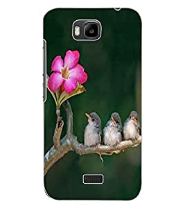 ColourCraft Lovely Birds Design Back Case Cover for HUAWEI HONOR BEE