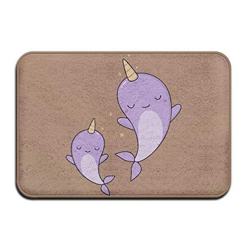 rwwrewre Cushion Cute Purple Narwhals Sister Happy Dance Blink Star Brown Home Decorations Rug Rectangle Size 18x30,Multi-Function Indoor Beautiful Doormat Star Garage Door Opener