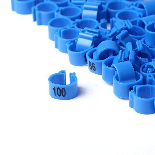 Visa Store Bleu: Bandes de Pattes d'oiseau Multicolores TYFOCUS 001-100, numérotéES de 8 mm, Poussins Perroquet Pigeon, Anneaux avec Pince pour Le Canard (Bleu)