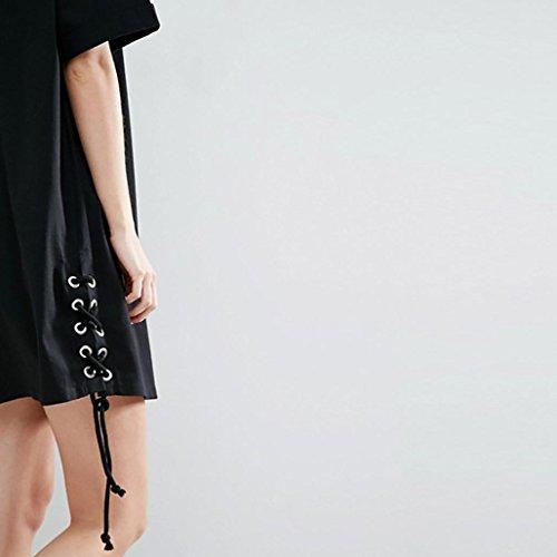 WOCACHI Damen Sommer T-Shirt Kleider Mode Frauen loose reine Farbe hübsches reizend Art Mini t-shirt Kleid beiläufiges Verband Oversize Kleid Black