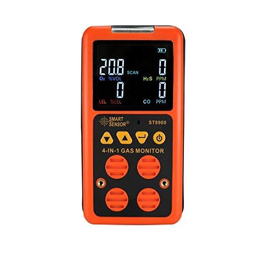 Messgerät Multigas-Detektor-Hausgasalarm; CO, H2S, LEL und O2, Leckprüfgerät Überwachen Sie den Gasmonitor für brennbares Gas mit Sprach- / Lichtwarnalarm und LED-Anzeige ST8900 -