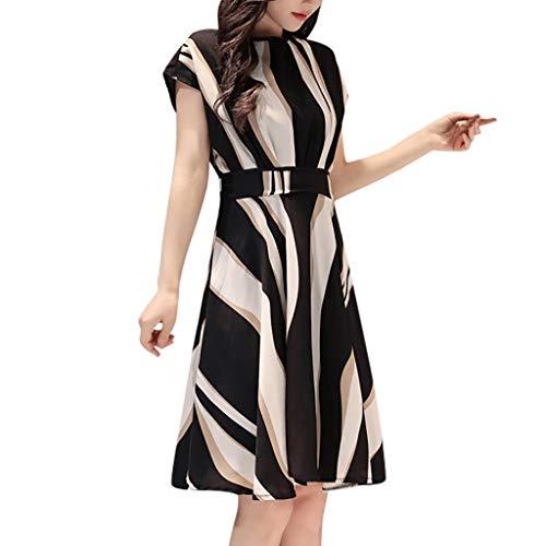 MMOOVV Dress Fashion Business Frauen Gürtel O-Ausschnitt Kurzarm Knie Lange lässige Partykleid (Schwarz 2XL)