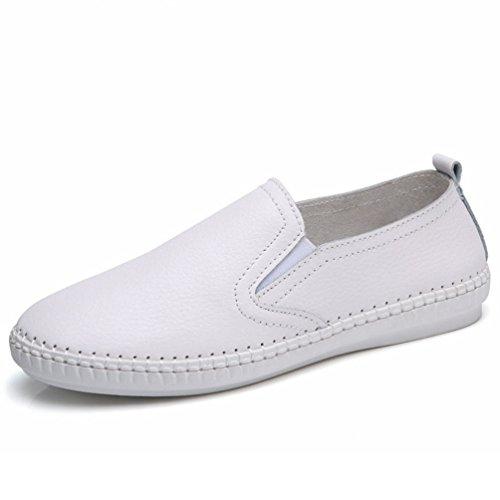Qianliuk Frau Loafers Sommerschuhe Kuh Leder Wohnungen Schuhe Slip auf Festen Cut-Outs Atmungsaktive Schuhe (Lifestride Schuhe Wohnungen)