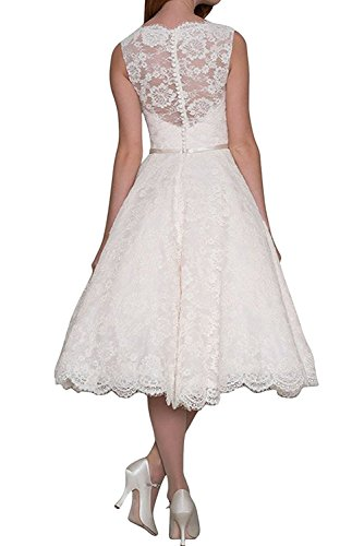 TOSKANA BRAUT Damen Elfenbein Elegant kurz knielang V-Ausschnitt zwei Traeger Spitze Guertel Applikation Hochzeitkleid Abendkleid Heimkehr Kleid Rosa