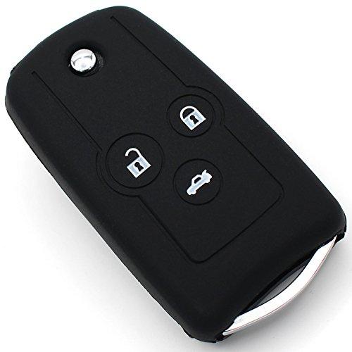 Schlüssel Hülle HC für 3 Tasten Auto Schlüssel Silikon Cover von Finest-Folia (Schwarz) (Honda Remote Cover)