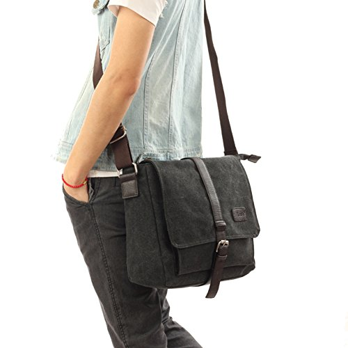 Vintage Briefträger Canvas Tasche/Umhängetasche/Studenten-outdoor-Mode lässige Umhängetasche-khaki schwarz