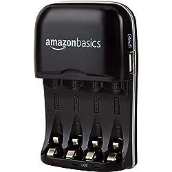 AmazonBasics Chargeur de piles Ni-MH AA et AAA avec port USB