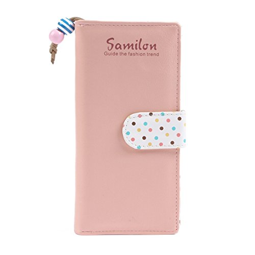 Swallow borsa carta borsa cerniera Cuoio Colore dot moneta ammissione delle donne (nero) rosa