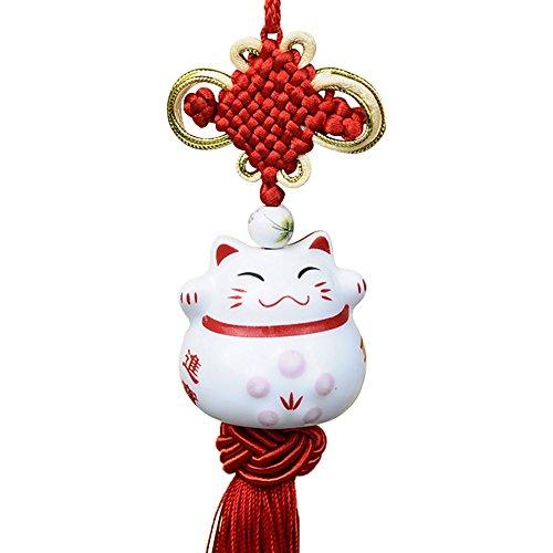 Glückliche Katze Anhänger Cociy Porzellan Maneki Neko Japanische Hängende Figur Glücksbringer mit traditionellen chinesischen Knoten Einzigartiges Geschenk (1 - Porzellan Figuren Chinesische