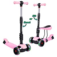 YOLEO Kick Scooters for Boys Girls Kids, Adjustable Height and PU Flashing LED Light-Up Wheels for Children Age 2 3 4 5 6 7 8