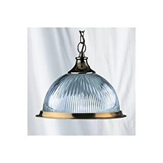 Searchlight 9369 American Diner Antique Brass Pendant With Clear Ribbed Glass