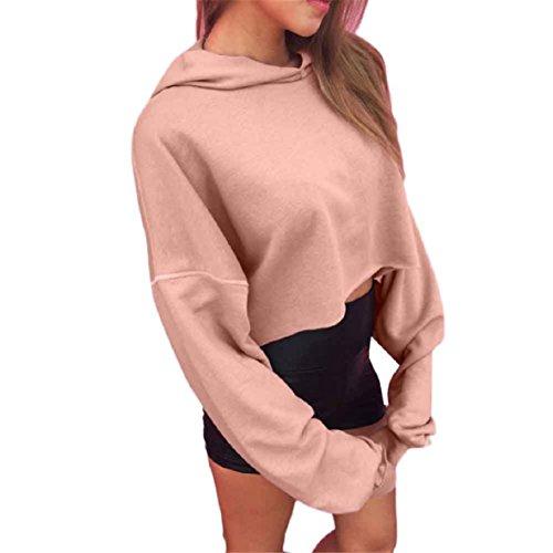 OverDose Damen Hoodie Pullover Strickjacke Crop Top Coat Sport Pullover Tops (S, Rosa)