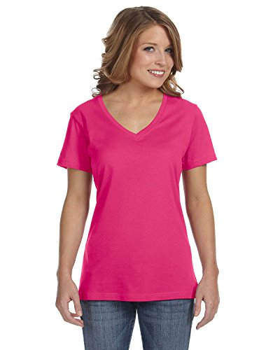 Anvil Ladies Featherweight Damen V-Neck T-Shirt, Größe:L, Farbe:Hot Pink -
