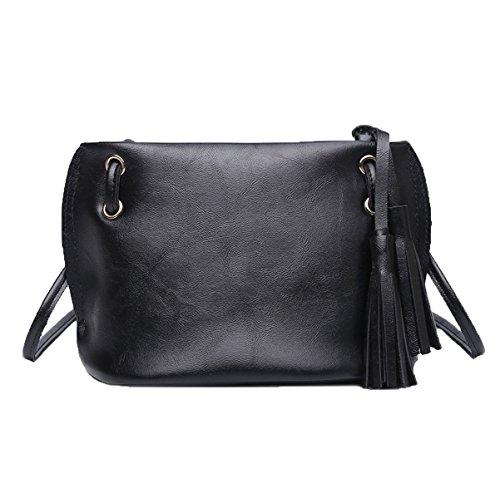 Dame Fashion Tassels Leichte Schultertasche Crossbody Tasche Satchel Für Frauen Mehrfarbig Black