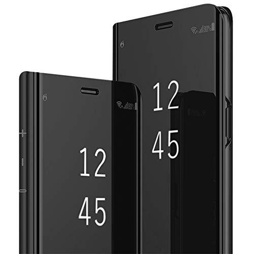 iPhone X Hülle, iPhone10 Spiegel Schutzhülle Flip Handy Case mit Standfunktion Card Handyhülle für Apple iPhone X (Schwarz, iPhone X/iPhone10) Apple Spiegel