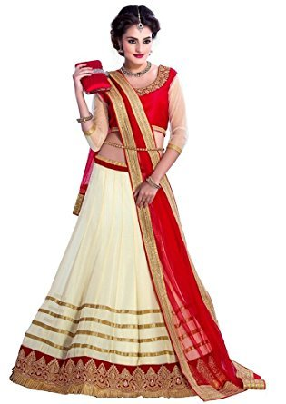 Clickedia Women\'s Net Lehenga Choli(5_Off white and Red_Free Size)