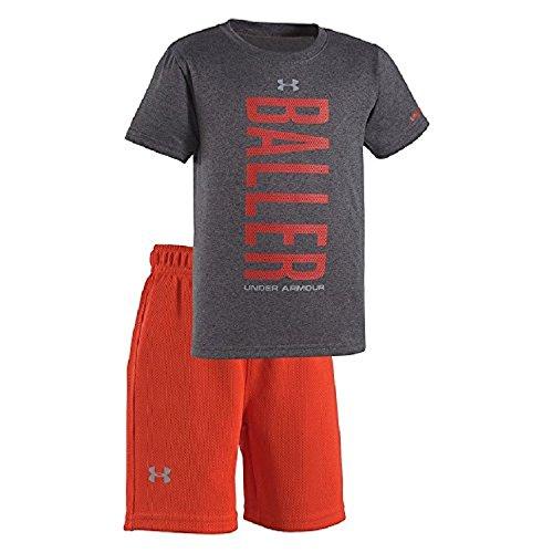 Under Armour Baby Boys' 2-Piece Release the Beast T-Shirt & Shorts Set (2T, Carbon Heather (04) / Baller/Orange) (Boy Shorts 2 Orange)