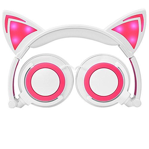 Cuffie dei bambini con l'orecchio del gatto, malltek led cuffia pieghevole per il trasduttore auricolare dei bambini 3.5 jack compatibile con pc, smartphone android, iphone, ipad, samsung, mp3, mp4 e altri dispositivi con jack da 3.5 mm - bianca + rosa