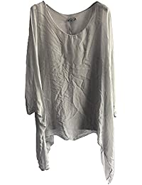 91d2a817416 Suit and Suit New Womens Ladies Italian Lagenlook Plain Silk Viscose  Batwing Loose Baggy Tunic Top