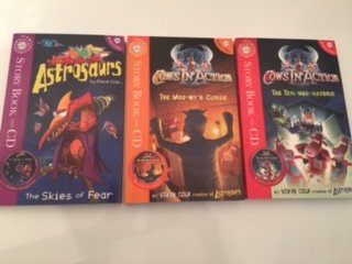Steve Cole Collection -3 books and Cds- (The Skies of Fear, Cows in Action The Termoonators, Cows in Action The Moomy's Curse)