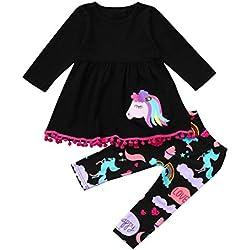 K-youth Ropa Bebe Niña Otoño Invierno Infantil Recien Nacido Vestidos Bebé Niña Vestido Niña Unicornio Impresión Manga Larga Ropa Niña + Pantalones Trajes Conjuntos(Negro, 18-24 Meses)