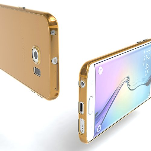 Samsung Galaxy S6 Edge Hülle - EAZY CASE Ultra Slim Cover Handyhülle - dünne Schutzhülle aus Silikon in Schwarz / Anthrazit Clear Gold