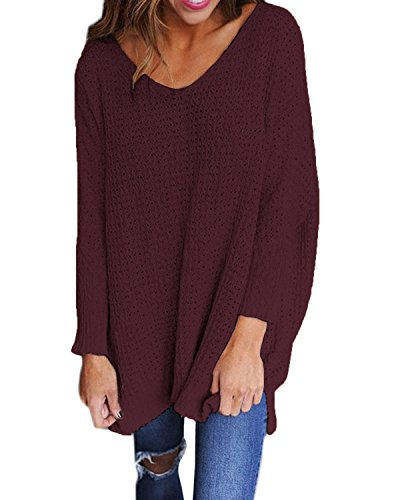 StyleDome Damen Jumper Shirt Dress Herbst Langarm Plus Size Pullover Strick Sweater Sweatshirt Tops Weinrot S
