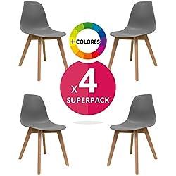 Silla Nórdica (Pack 4) - Silla escandinava Gris - silla nordic scandi inspirada en silla eames - Nordi - (Elige tu color)