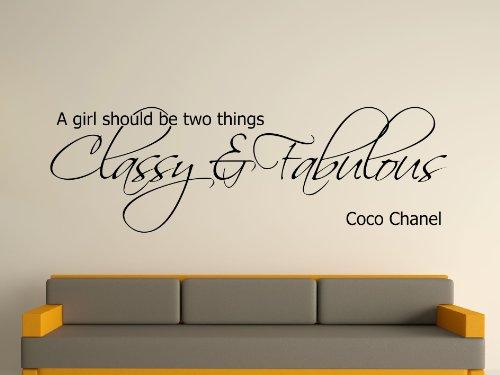 """Wall Stickers etc Deko-Wandsticker, Zitat """"Ein Mädchen sollte sein..."""" (auf Englisch) von Coco Chanel S schwarz"""