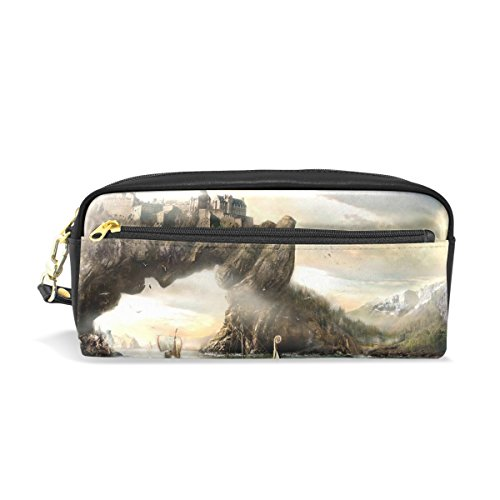 Eslifey Portable sacchetto Vikings drago barca paesaggio PU scuola penna...