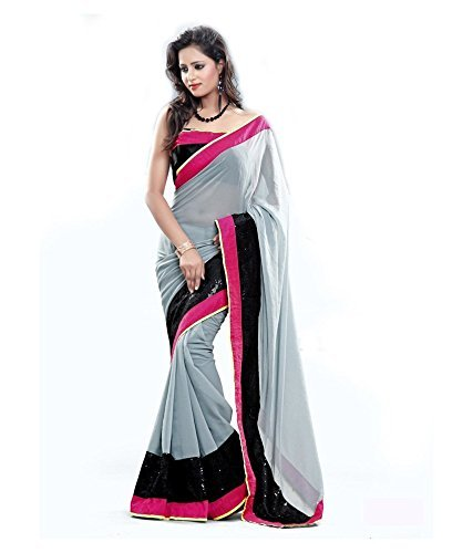 Onlinehub Georgette Saree With Blouse Piece (_Grey_Free Size)