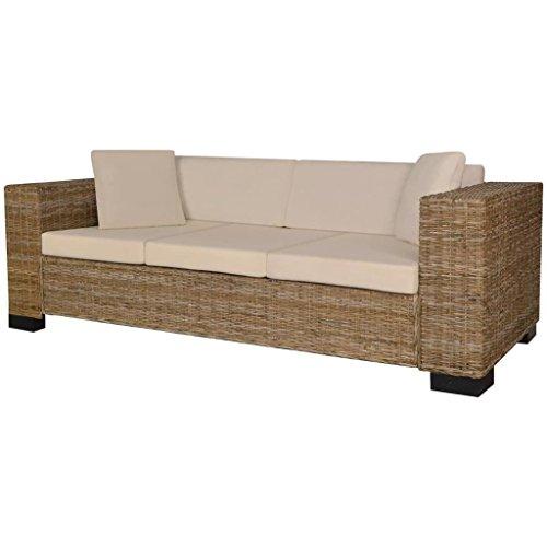 Vidaxl divano set 8 pz in rattan naturale sofa sdraio con cuscini casa salotto