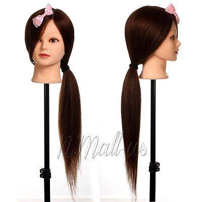 pedgeo (TM) Puppenkopf, 99% echtes menschliches Langes Haar, 66cm, für Salon / Friseur-Ausbildung, Puppen-Kopf + Klemme C20 (Köpfe Menschliches Puppe Haar)